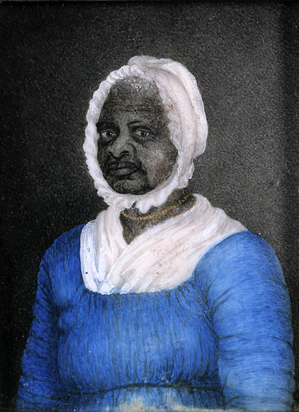 Mum Bett, aka Elizabeth Freeman, aged 70. Painted by Susan Ridley Sedgwick, aged 23. Watercolor on ivory, painted circa 1812. Massachusetts Historical Society, Boston