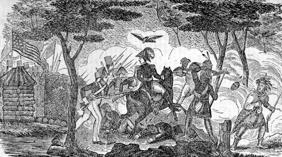 """""""The attack on Fort Meigs, May 5, 1813,"""" from the """"Hard Cider and Log Cabin Almanac,"""" 1841. Via Ohio Memory"""