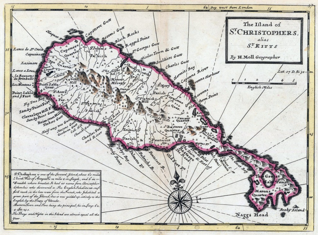 Saint Kitts 1736 map