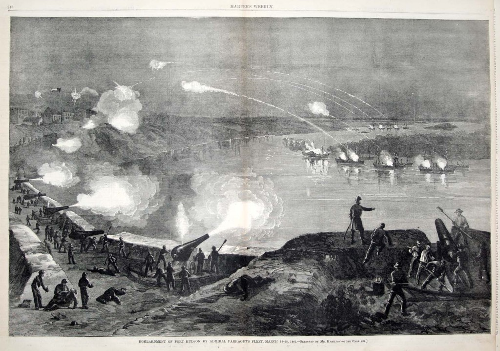 Contemporary Newspaper view of the Union fleet passing Port Hudson published by Harper's Weekly Newspaper April 18, 1863